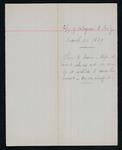 Handwritten copy of telegram from Major Mallet to Secretary of the Interior