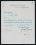 Correspondence to Major Mallet from George Chandler, Assistant Secretary of the U.S. Department of Interior