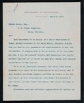 Correspondence from H.L. Muldrow, 1st Assistant Secretary to the Department of Interior to Major Mallet
