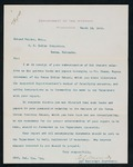 Correspondence to Major Mallet from H.L. Muldrow, 1st Assistant Secretary to the Department of Interior